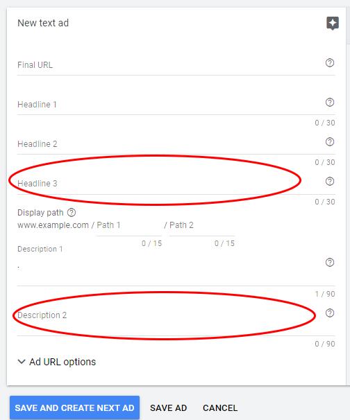 Headline 3 description 2 Google Ads